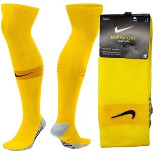 Nike Match Fit Soccer Socks Yellow Football Team